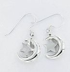 E 6830 Crescent Moon and Star Hanging Earrings 19x13 mm
