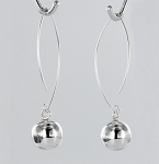 Ball on Curved Wire Hanging Earrings 42x17 mm