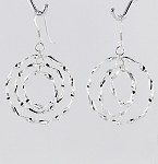 E 32655 Concentric Three Hoops Hanging Earrings 30 mm