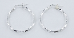 Italian Silver Twist Hoop Earrings (2 mm) - 20 mm