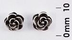 E 6815 Flower Stud Oxidized Earrings 7 mm