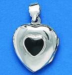 L 1728 Heart Locket w/Stone
