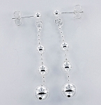 E 31576 Bead & Graduated Ball (4-8 mm) Hanging Post Earrings 46x8 mm