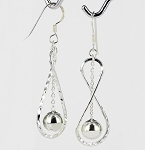 E 6948 Twist Hammered w/8mm Bead Hanging Earrings 34x14 mm