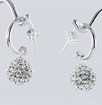 E 7112 Crystal Ball on Cuff Hanging Earrings 10 mm