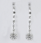 E 32669 Crystal Ball Dangling on CZ Line Hanging Earrings 8 mm
