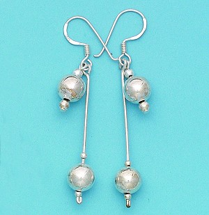 E 5006 Ball 8mm Short and Long Dangling Earrings on Wire 39 mm